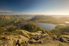 Vista sopra il paesaggio norvegese Immagine Stock Libera da Diritti