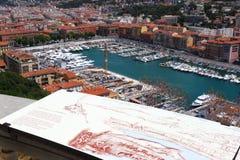 Vista sopra il porto di Nizza in Francia Fotografia Stock Libera da Diritti