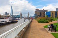 Vista sopra il Tamigi a Londra, Regno Unito Fotografia Stock