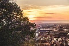 Vista sopra il tramonto di Friburgo fotografia stock libera da diritti