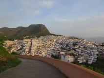 Vista sopra il villaggio bianco di Alora Fotografia Stock Libera da Diritti