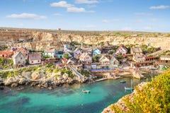 Vista sopra il villaggio di Popeye, Malta Immagini Stock Libere da Diritti