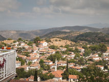 Vista sopra il villaggio turco di Sirince Fotografia Stock