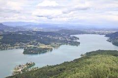 Vista sopra il Wörthersee da Pyramidekogel, Austria Immagine Stock Libera da Diritti