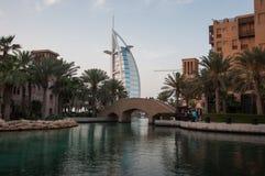 Vista sopra l'hotel famoso di Burj Al Arab, Dubai, UAE Fotografie Stock Libere da Diritti