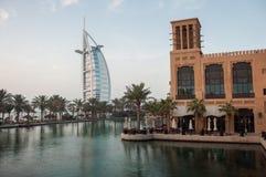Vista sopra l'hotel famoso di Burj Al Arab, Dubai, UAE Fotografia Stock