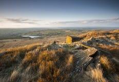 Vista sopra la brughiera di Yorkshire immagini stock libere da diritti