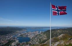 Vista sopra la città di Bergen Fotografia Stock Libera da Diritti