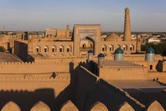 Vista sopra la città di Khiva nell'Uzbekistan fotografie stock libere da diritti