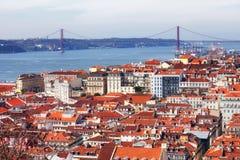 Vista sopra la città di Lisbona nel Portogallo Immagine Stock Libera da Diritti