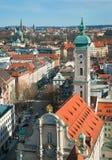 Vista sopra la città di Monaco di Baviera Fotografia Stock Libera da Diritti
