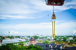 Vista sopra la città di Suphanburi, Tailandia Immagine Stock