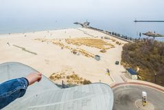 Vista sopra la spiaggia del nde del ¼ di Warnemà Fotografie Stock Libere da Diritti
