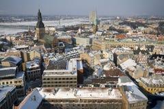 Vista sopra la vecchia città di Riga Immagini Stock Libere da Diritti