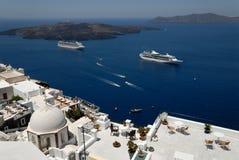 Vista sopra le isole di Santorini Fotografie Stock Libere da Diritti
