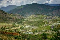 Vista sopra le montagne nel Bhutan Immagini Stock Libere da Diritti