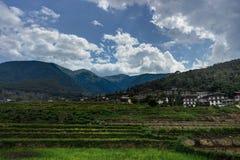 Vista sopra le montagne nel Bhutan Immagini Stock
