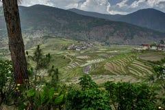 Vista sopra le montagne nel Bhutan Fotografia Stock Libera da Diritti