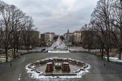 Vista sopra Monaco di Baviera con un ponte nella priorità alta Fotografia Stock Libera da Diritti