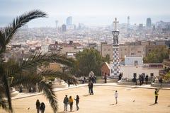 Vista sopra parque Guell a Barcellona, Spagna Immagine Stock Libera da Diritti