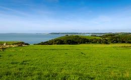 Vista sopra Tenby e l'isola di Caldey - Galles, Regno Unito Immagine Stock