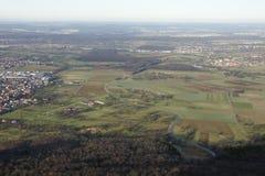 Vista sopra un paesaggio piano da sopra Immagine Stock