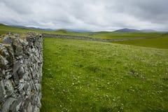 Vista sopra una parete drystone in Scozia del Nord Immagine Stock