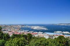 Vista sopra Vigo, Spagna Immagine Stock Libera da Diritti