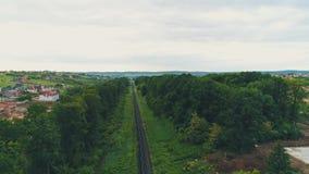 Vista sopraelevata aerea della strada residenziale di viaggio del pendolare dei parchi delle case dei tetti del townstreet e dell archivi video