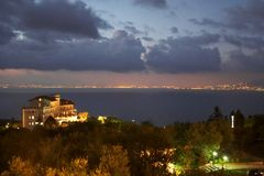 Vista of Sorrento Italy. A twilight view of a villa with Sorrento Italy in the background Stock Photography