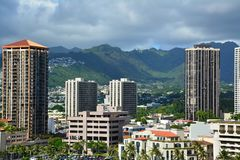 Vista spettacolare della città di Honolulu, Oahu Immagine Stock
