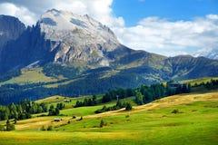 Vista spettacolare delle montagne rocciose maestose in Alpe di Siusi Fotografia Stock Libera da Diritti