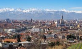 Vista spettacolare di Torino con parecchie attrazioni turistiche Fotografia Stock Libera da Diritti