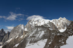 Vista spettacolare per montare il massiccio di Blanc da un observati di 360 gradi Fotografie Stock Libere da Diritti