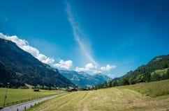 vista splendida di paesaggio della strada campestre nel Alpines Immagini Stock Libere da Diritti