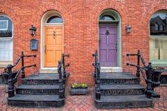 Vista storica delle case di Frederick Maryland vecchia fotografie stock