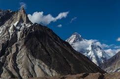 Vista strabiliante della montagna K2 dal campeggio di Concordia Immagini Stock