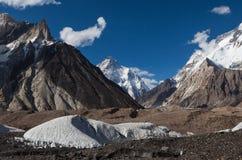 Vista strabiliante della montagna K2 dal campeggio di Concordia Fotografia Stock Libera da Diritti