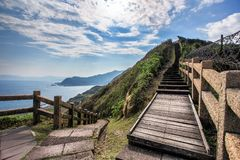Vista strabiliante di una traccia di escursione in Taiwan fotografia stock
