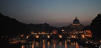 Vista strabiliante sulla notte Roma Fotografie Stock