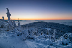 Vista stupefacente dal picco di montagna scherzato Mattina nevosa tipica, repubblica Ceca Immagine Stock