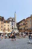 Vista stupefacente del della Rotonda della piazza in città di Roma Fotografie Stock Libere da Diritti