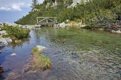 Vista stupefacente del ponte di legno sopra il fiume vicino alla capanna di Vihren, montagna di Pirin Immagini Stock