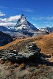 Vista stupefacente della catena montuosa di panorama vicino al Cervino Fotografia Stock Libera da Diritti