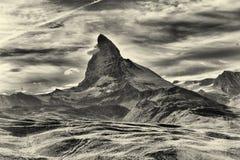 Vista stupefacente della catena montuosa di panorama vicino al Cervino Fotografie Stock Libere da Diritti