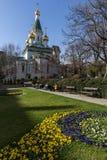 Vista stupefacente della chiesa russa delle cupole dorate a Sofia, Bulgaria Immagini Stock Libere da Diritti