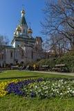 Vista stupefacente della chiesa russa delle cupole dorate a Sofia, Bulgaria Immagine Stock Libera da Diritti
