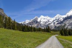 Vista stupefacente delle alpi e dei prati svizzeri vicino a Oeschinensee (lago Oeschinen), su Bernese Oberland, la Svizzera Immagine Stock