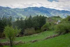 Vista stupefacente delle montagne di Rhodope in Bulgaria Fotografie Stock Libere da Diritti
