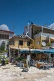 Vista stupefacente di estate della città di Parga, Epiro, Grecia fotografia stock